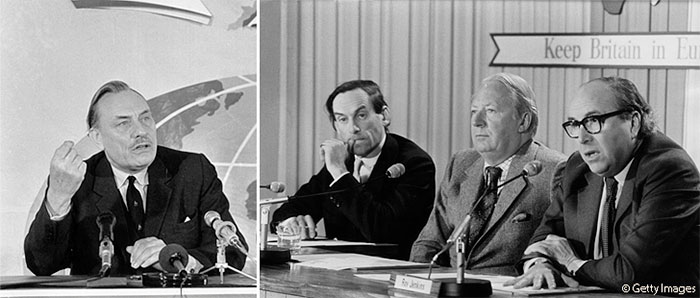 Enoch Powell, Jeremy Thorpe, Ted Heath and Roy Jenkins