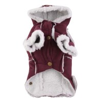 Pet Winter Warm Dog Coat Puppy Clothing Red British Leg