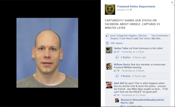 facebook caught a wanted guy