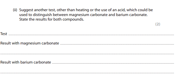 flame test question in ial chemistry unit 2 exam