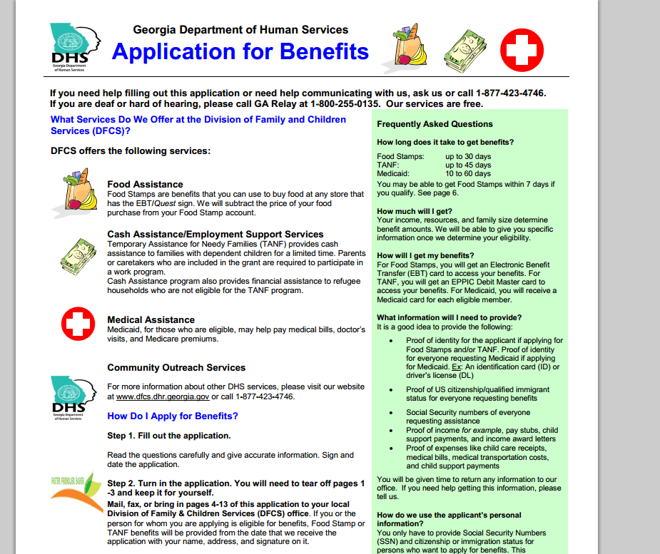 Georgia Compass Food Stamps Application Georgia Food Stamps Help
