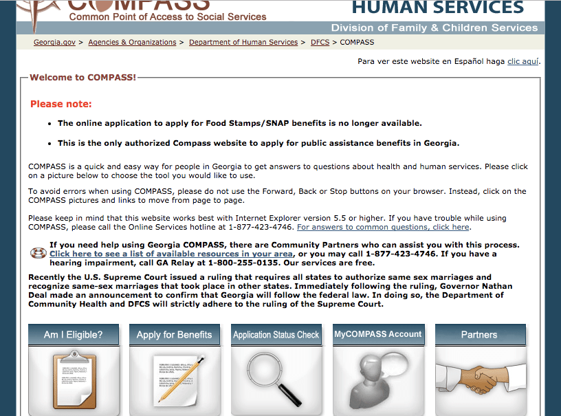 www.compass.ga.gov Renew My Benefits