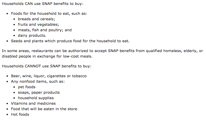 Food Stamps Allowed Purchases