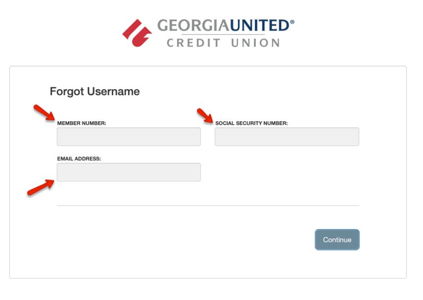 """Georgia United Credit Union - Retrieve Username"""