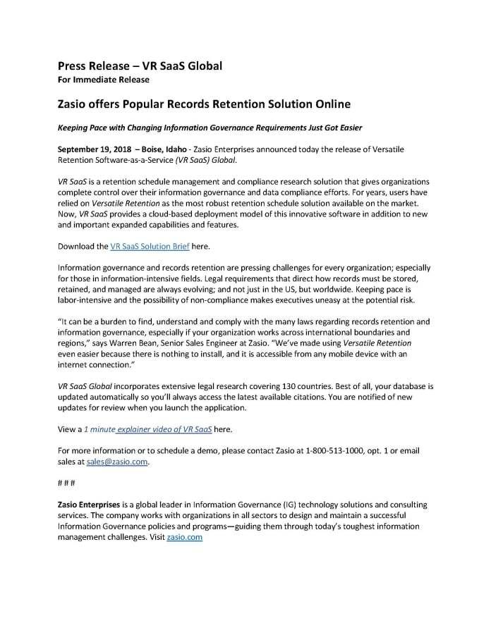 VR SaaS Press Release