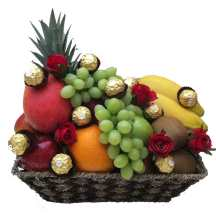 Fruit Basket with Chocolate + Only Red Roses