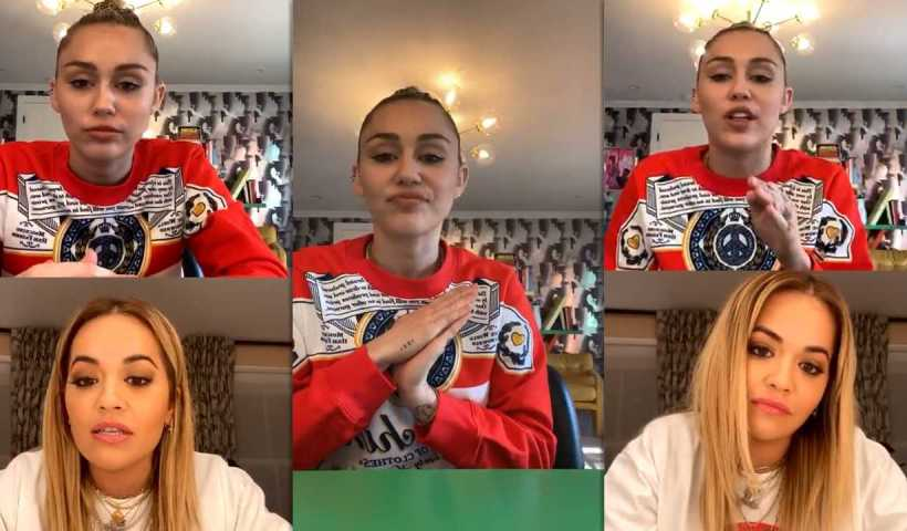 Miley Cyrus #BrightMinded Instagram Live Stream with Rita Ora from March 19th 2020.
