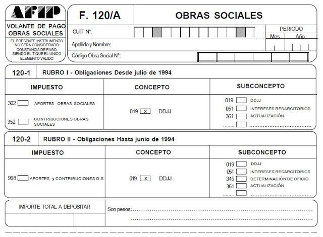 f 120/A AFIP pago osecac