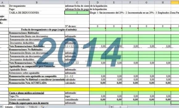 Planilla excel para el cálculo de las retenciones Ganancias 4ta Categoría 2014