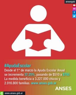 La Ayuda Escolar pasará de 510 pesos a los 700 pesos