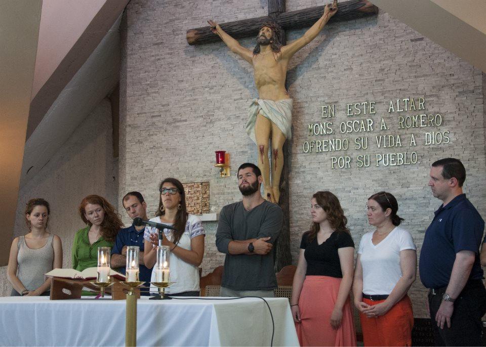 ISN delegates during a Feast of Ignatius Liturgy at the site of Archbishop Oscar Romero's murder.