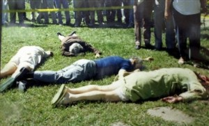 Crime scene photos from November 16, 1989 show the Jesuits bodies on the lawn outside the Jesuit residence in San Salvador
