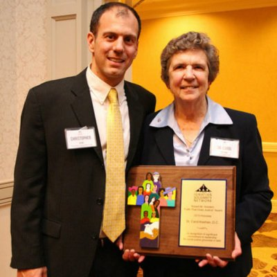 ISN ED Christopher Kerr with Sr. Carol Keehan, D.C., during the award event.