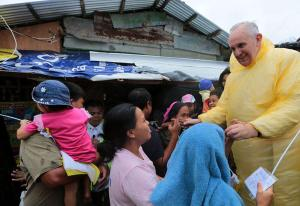 Pope Francis visits the Typhoon Yolanda victims in in the Philippines on January 17, 2015. [SOURCE: Malacanang Photo Bureau]