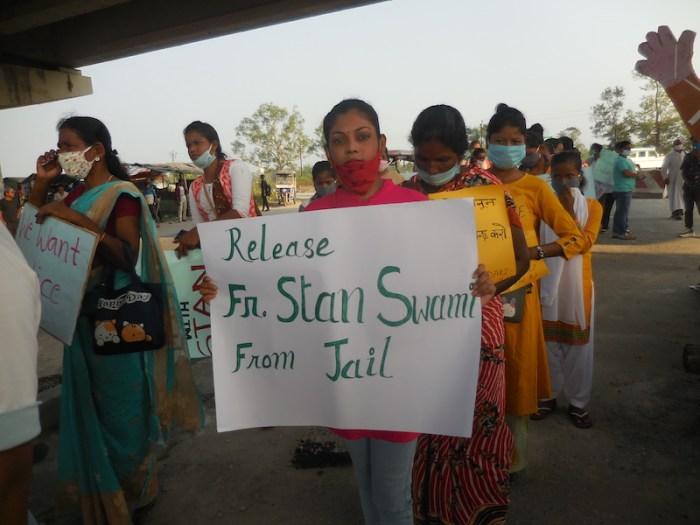 Protesters at a rally for Fr Stan Swamy at Ghospukur Chowk, near Gayaganga Parish in Darjeeling, India. Photo: Pascal Xalxo SJ