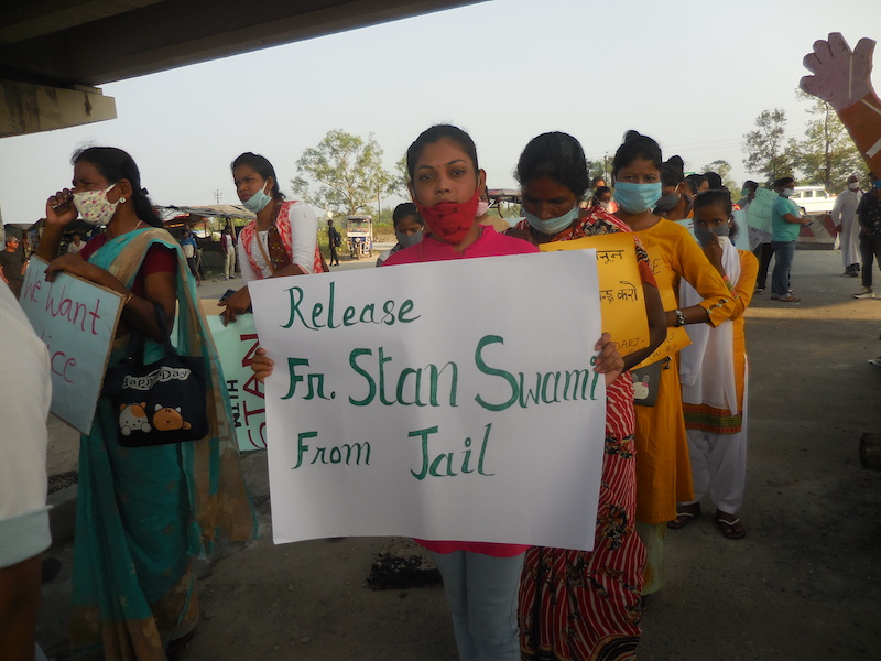Protesters at a rally for Fr Stan Swamy at Ghospukur Chowk, near Gayaganga Parish in Darjeeling, India. Photo: Pascal Xalxo SJ