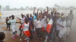 The Trinity Future Girls Football Club in Juba, South Sudan, coached by Lydia Casmiro.