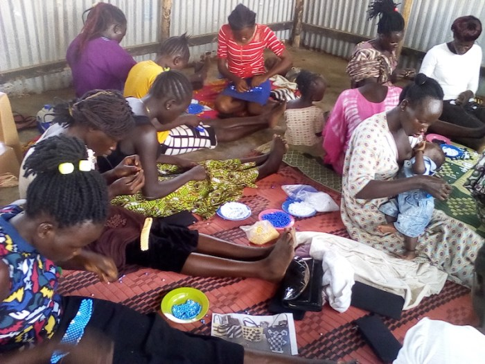 Women in Juba, South Sudan, making handcrafted bags as a source of livelihood. Credit: L.T. Casmiro.