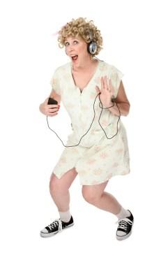 Woman rocking to music