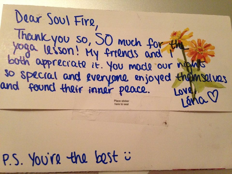 Soulfire yoga party thank you