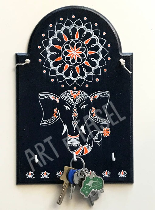 Wooden Handpainted Mandala Keychain Holder