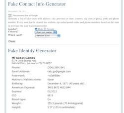 Contact Generator Screen Shot