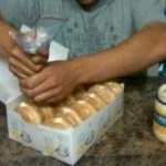 Cream filled donuts with the filling replaced with Mayonnaise.
