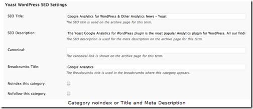 Можно задать noindex, Title и Description для категорий