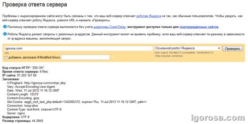 проверка доступности сайта поисковым роботам Яндекса