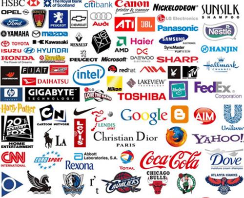 множество узнаваемых логотипом мирового уровня
