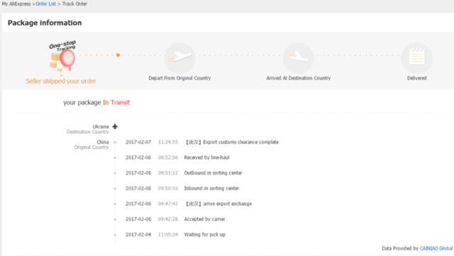 Подробности отслеживания посылки с AliExpress