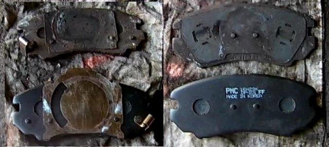 Старые и новые тормозные колодки Киа Соул