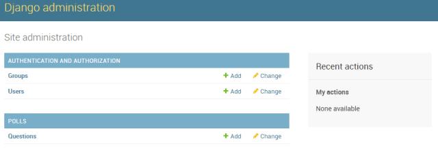 Django Admin с подключенным приложением Polls