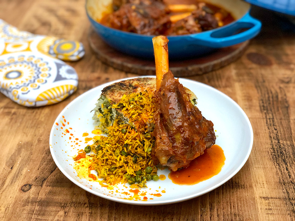 Lamb Shanks with Persian Saffron, Peas and Dill Rice | Nokhod Polo ba Mahiche | igotitfrommymaman.com