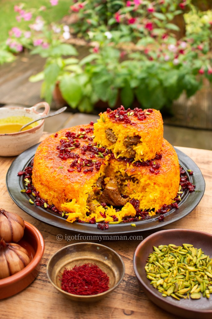 Tahchin-e Goosht - Persian Recipes: Saffron Rice Cake with Lamb | igotitfrommymaman.com