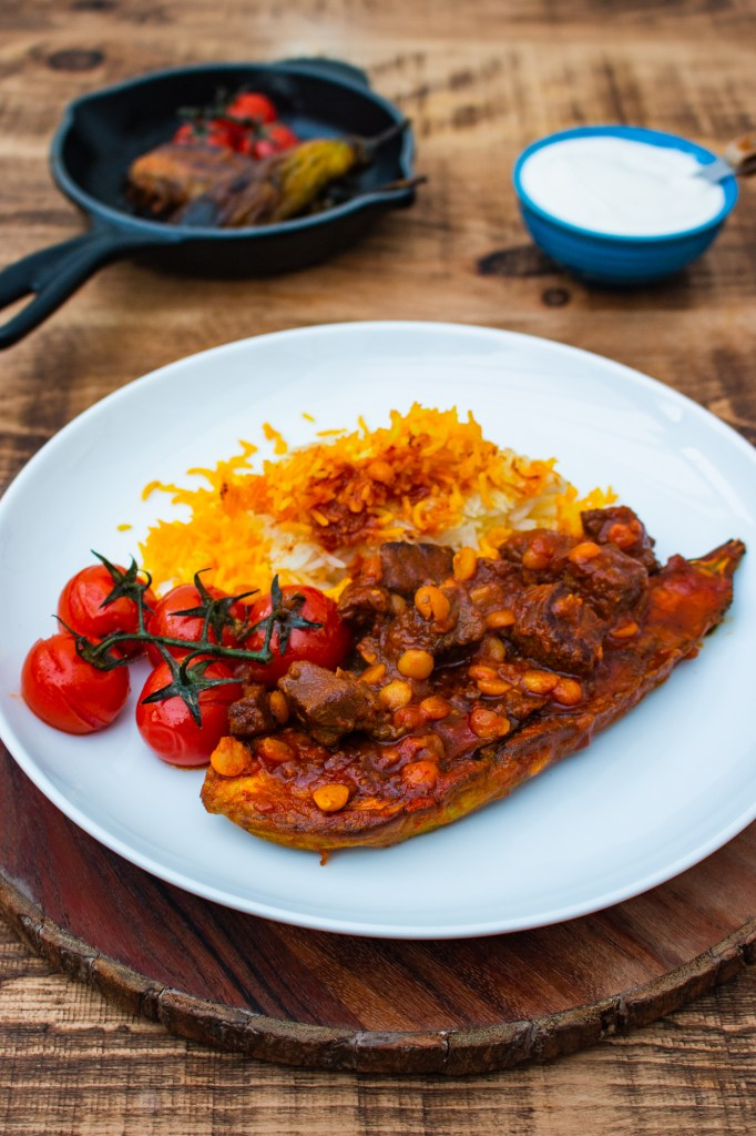 Khoresh Gheymeh Bademjan | Lamb Stew with Aubergines and Yellow Split Peas | igotitfrommymaman.com