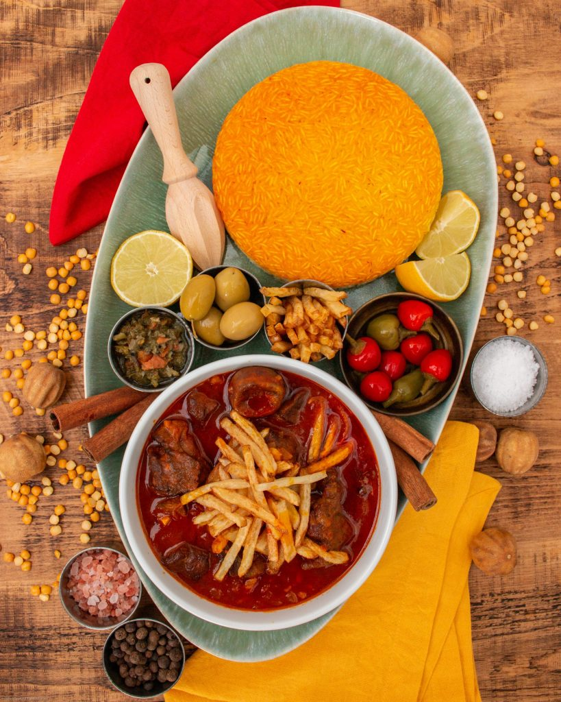 Khoreshe Gheymeh - Persian Lamb Stew with Yellow Split Peas served with aromatic saffron rice | igotitfrommymaman.com