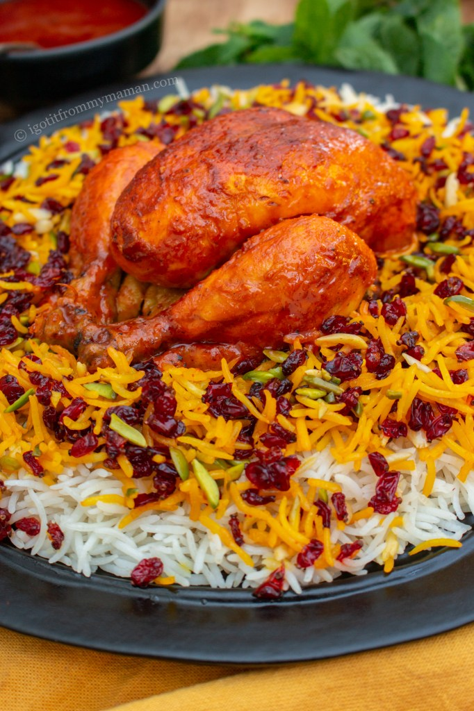 Persian Saffron Barberry Rice with Chicken