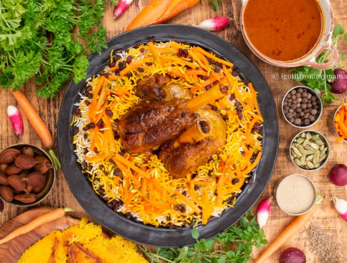 Kabuli Pulao - Afghan Carrot and Raisin Jewelled Rice with Lamb | igotitfrommymaman.com