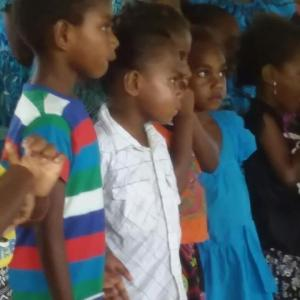 Kids doing special music for church