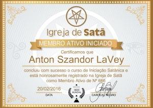 certificado dourado da igreja de satã