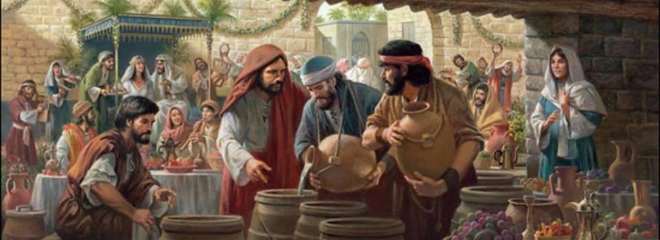 Um milagre - Jesus transforma água em Vinho