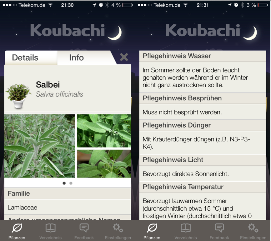 Koubachi App Hinweise