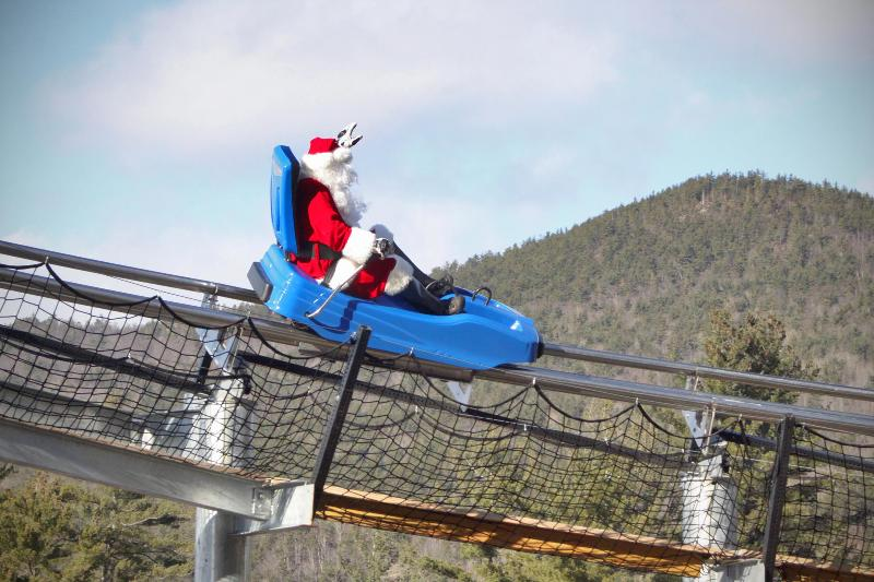 Santa on the Attitash Mountain Coaster