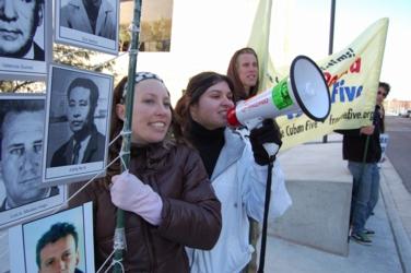 Posada protest Michelle, Lisa 2011