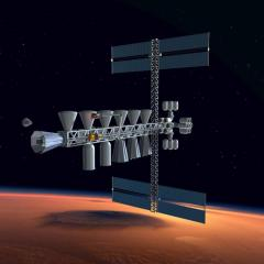 A space logistics base with a docking truss is assembled in Low Mars Orbit.   Art: Anna Nesterova