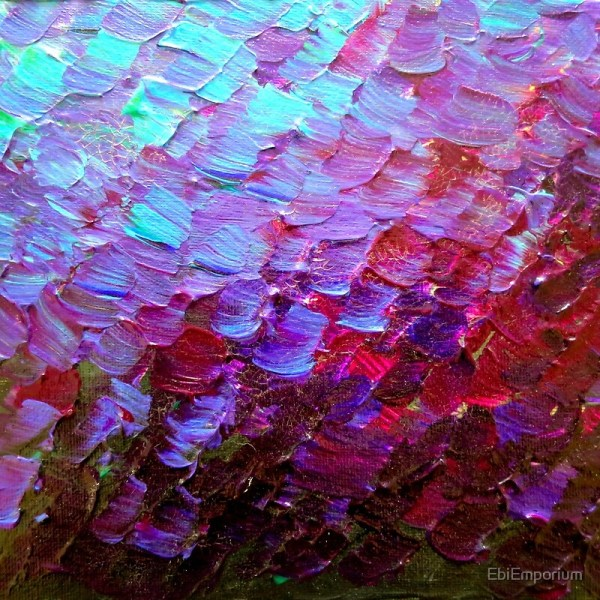 """""""mermaid Scales Colorful Ombre Abstract Acrylic Impasto"""