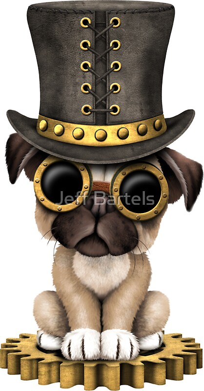 Cute Steampunk Pug Puppy Dog Stickers by jeff bartels