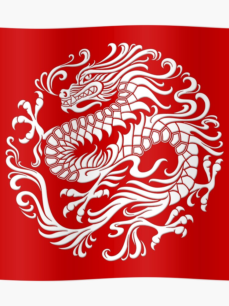 traditional white chinese dragon