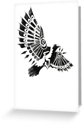 Raven Crow Shaman tribal tattoo design Greeting Card by